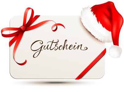 Gutschein - Karte mit roter Schleife, Weihnachtsmtze und Schriftzug