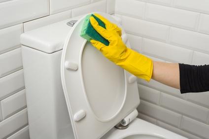 Frau putzt Toilette
